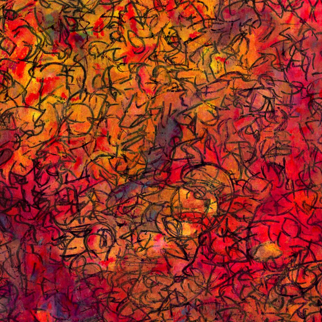 red layered mixed media art